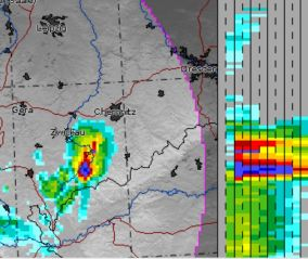 Niederschlagsradar 11:30Uhr, der blaue Bereich markiert den Hagel. Quelle: DWD