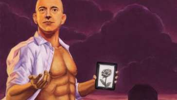 Illustration of Jeff Bezos by Johnny Acurso,richest man in the world 2017