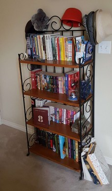 Down to just one row of books on the shelves, AND you can see my floor!