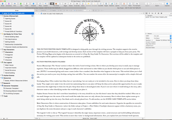 Fiction Writing Maps Scrivener Template