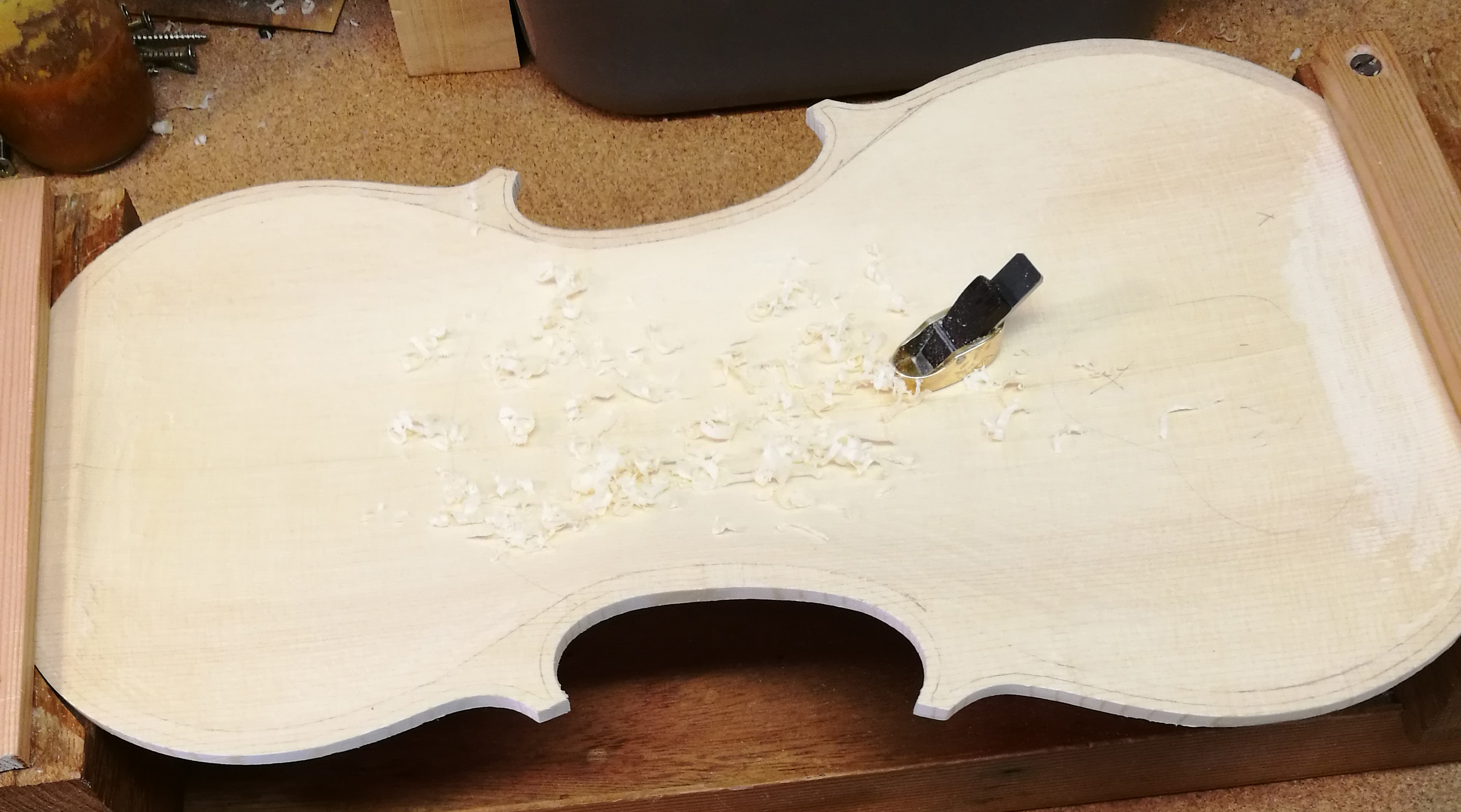 Violin in the process of being crafted