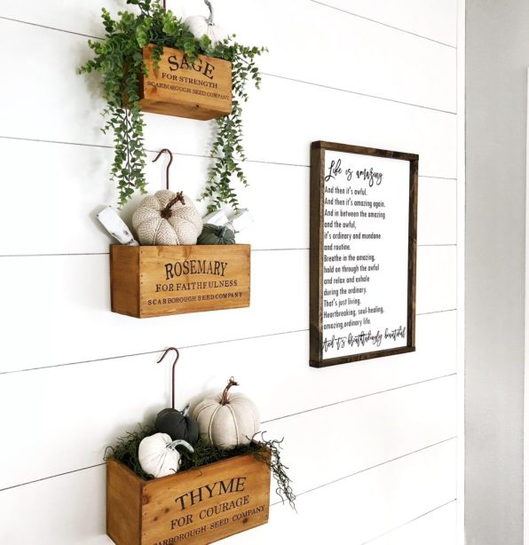 faux shiplap fall decor