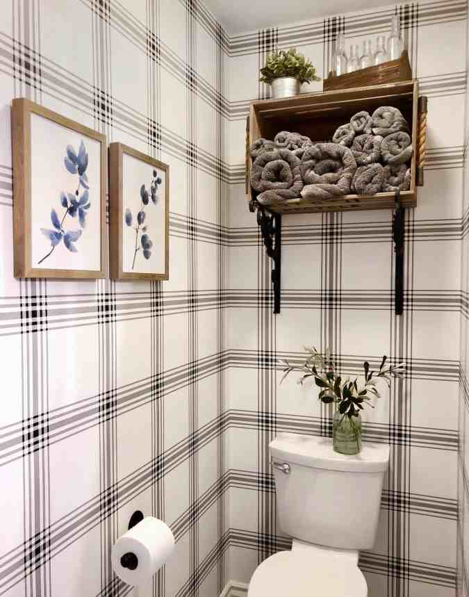 farmhouse bathroom wallpaper