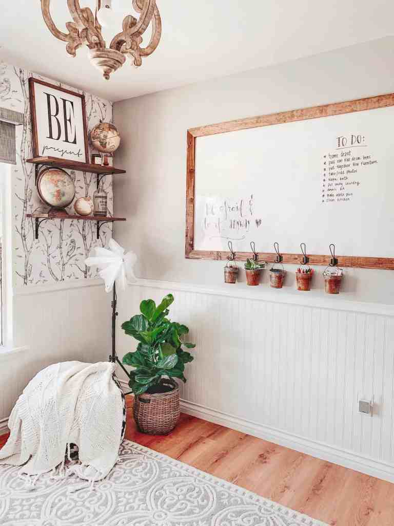 diy dry erase board in farmhouse office