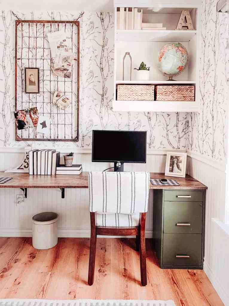 modern farmhouse office with beadboard chair rail and wallpaper