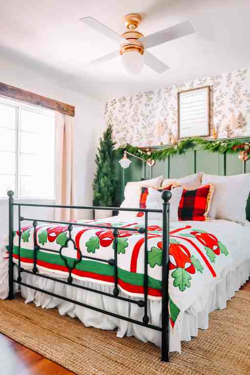 bedroom with vintage christmas decorations