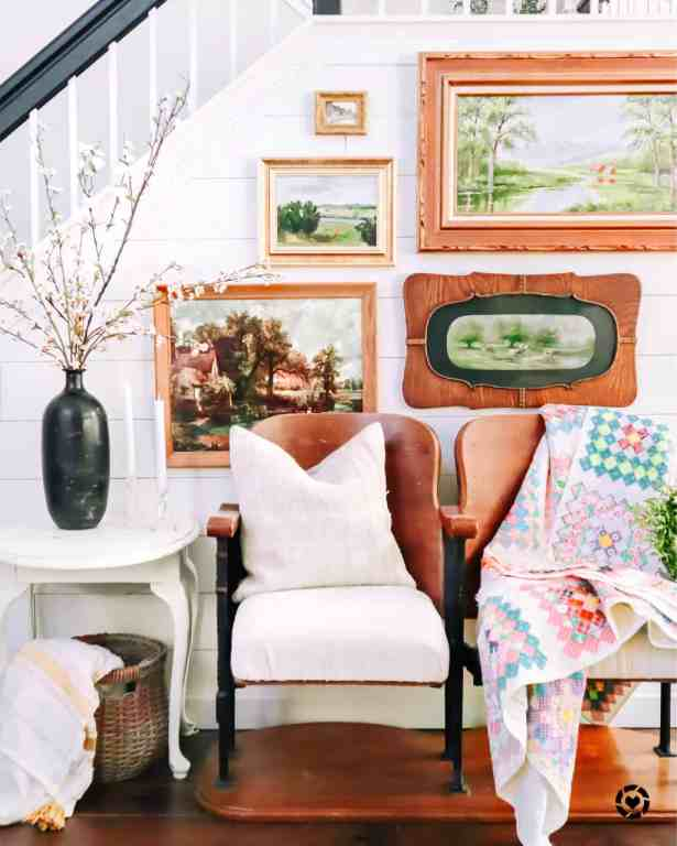spring decor ideas, gallery wall and budding blooms