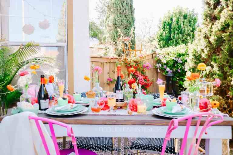spring and summer brunch ideas, jadeite, pink chairs, korbel prosecco