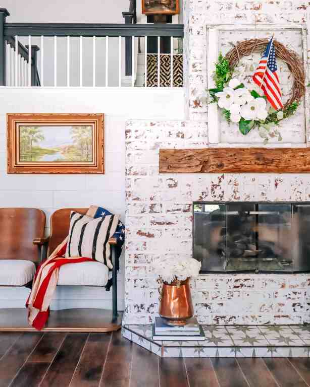 summer mantel decor with wreath and american flag