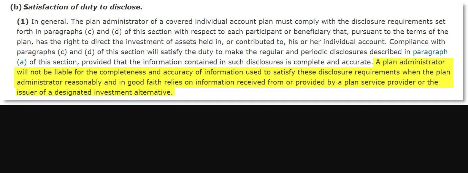 ERISA Section 404(c)... A License to Lie ...