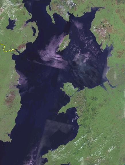 Satellite image of the Irish Sea.