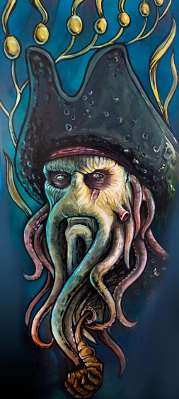 Davy Jones surfboard portrait