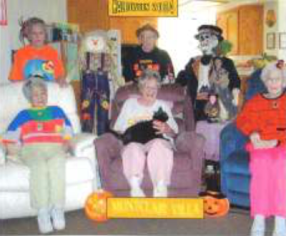 A group of women at a Halloween party