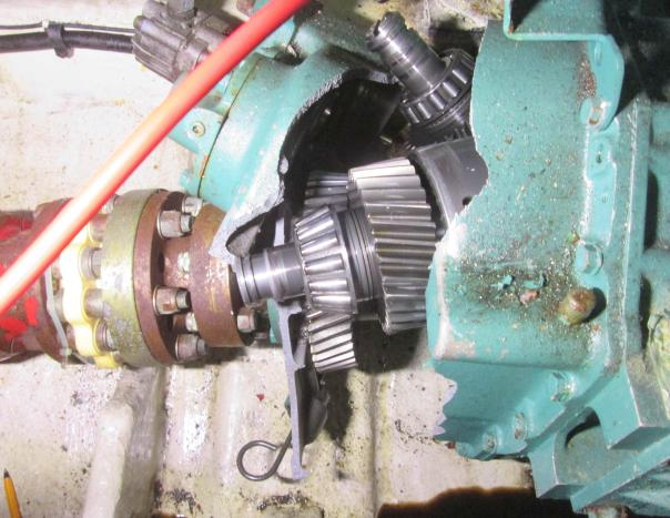 Destroyed gearbox after grounding