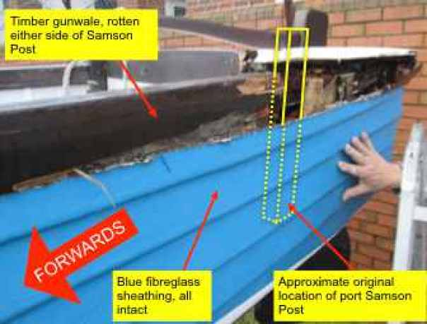 Damage of timber workboat