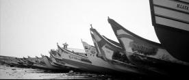 Fishing boats on shore at Kanyakumari, the southern tip of India.