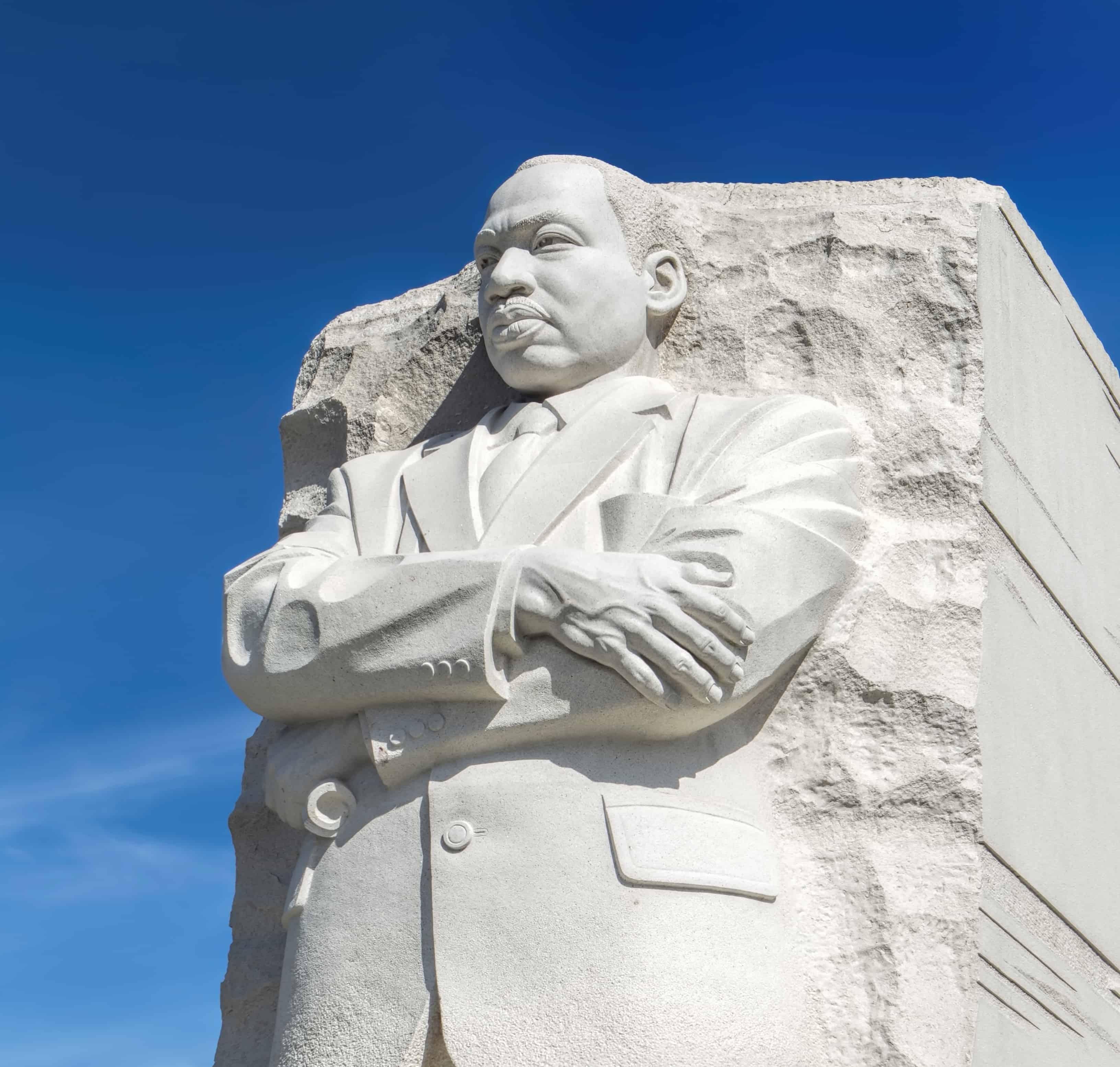 Close up of MLK statue.