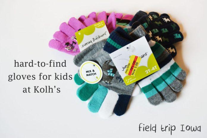 Kolh's kids gloves FIELDTRIP READY CAR