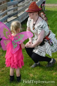 Fairy talks with child at the Renaissance Faire at Sleepy Hollow