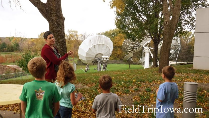 kids seeing dishes at Iowa Public Television on a field trip