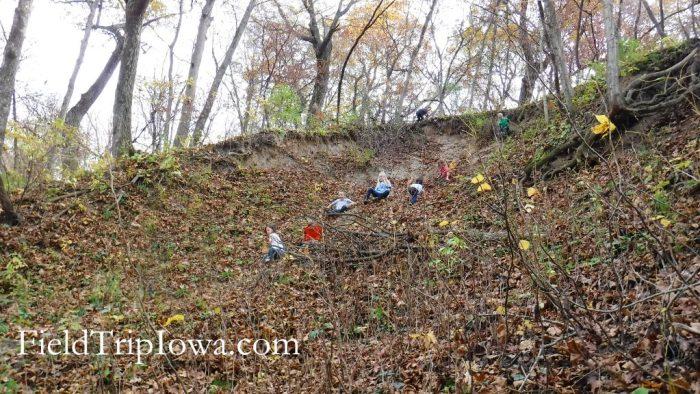 Margo Frankel Woods State Park children climbing dirt hill