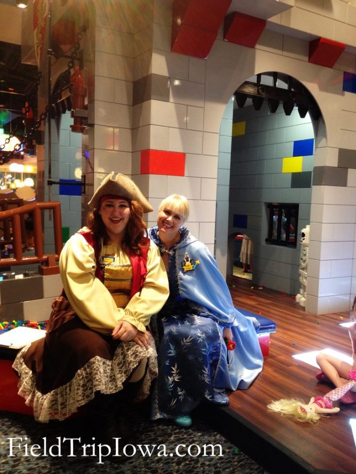 Hotel staff dressed in costumes in the Legoland Resort Lobby in Florida.
