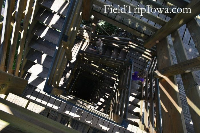 Stairs inside climbing tower at Myakka River State Park in Florida.