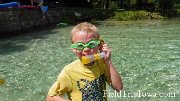 Little boy ready to snorkel atOcala National Forest Alexander Springs Timucuan Indian Nature Trail