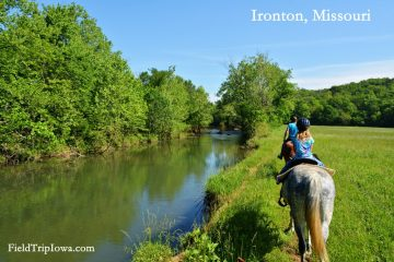 Horse trail ride along Stouts Creek at Arcadia Valley Stables by Plain & Fancy BB.