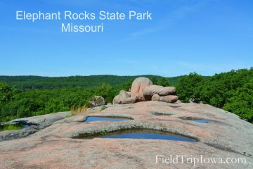 Water pools on the top of a giant boulder at Elephant Rocks State Park