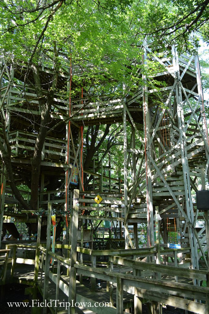 Several levels of The Big Treehouse in Marshalltown Iowa