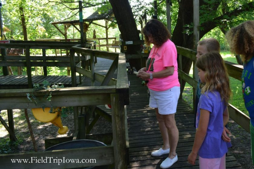 Children taking a tour of The Big Treehouse in Marshalltown Iowa