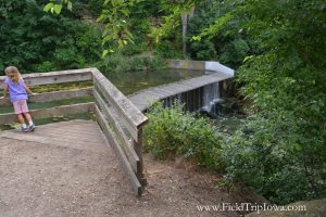 Viewing deck for Union Grove State Park Waterfall in Iowa.