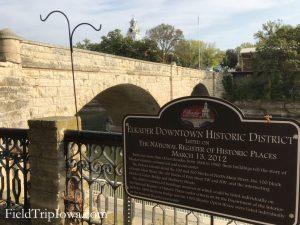 Sign about historica downtown Elkader Iowa