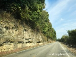 Rock and trees along the Great Iowa River Road