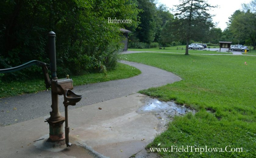 Drinking fountain and parking lot at in Parfrey's Glen Natural Area near Devil's Lake Wisconsin