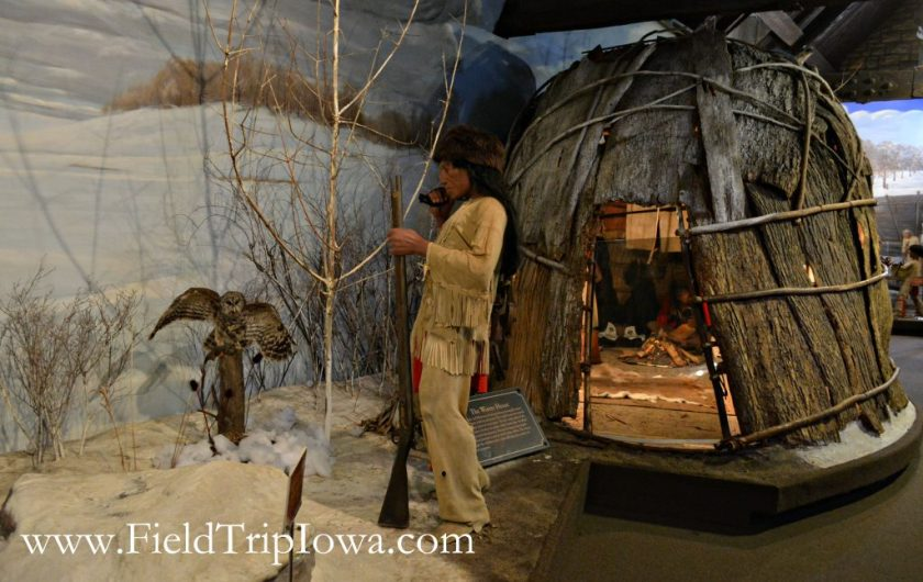 Winter Indian house display at John Hauberg Indian Museum