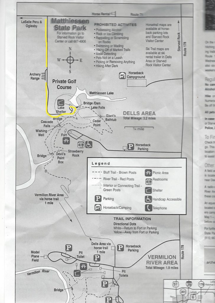 Parking and Hiking map for Matthiessen State Park, IL
