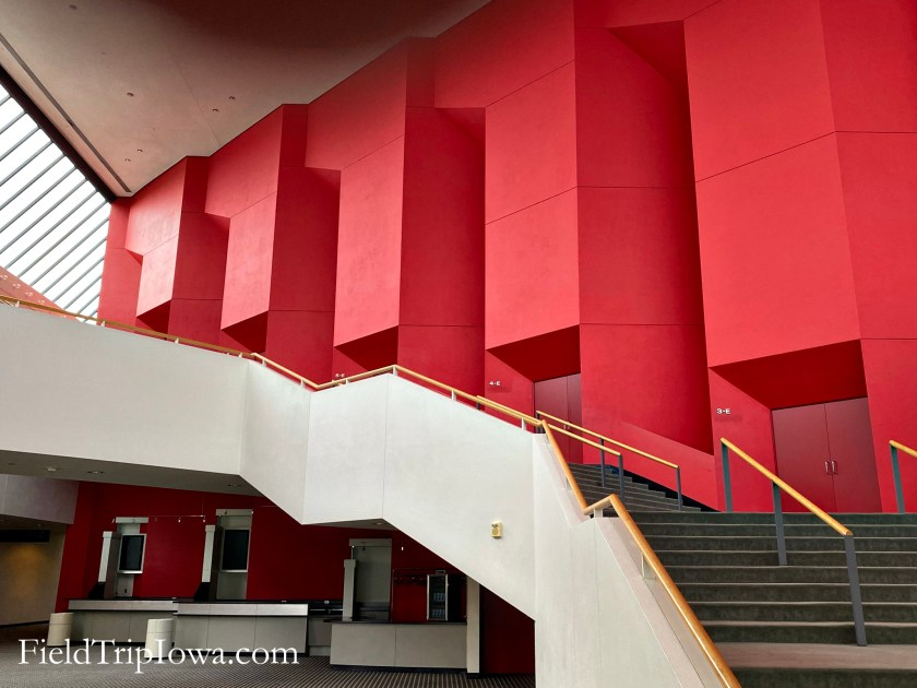 Showing the stairs and lobby area of the Des Moines Civic Center