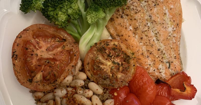 Salmon and vegetable dinner