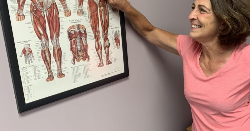 Sports chiropractor pointing at a poster of the human body