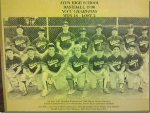 Avon High School - Varsity Baseball 1990