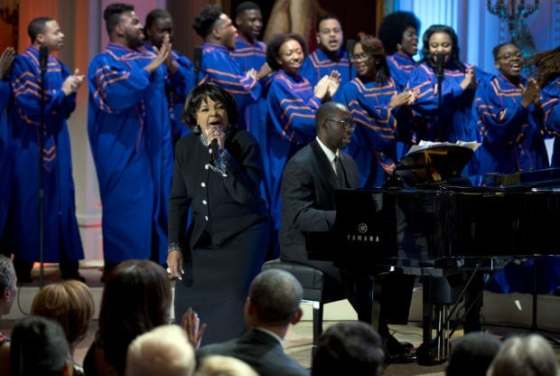 Shirley Caesar performs with the Morgan State University Choir for President Obama at the White House. (Photo: Morgan State University)