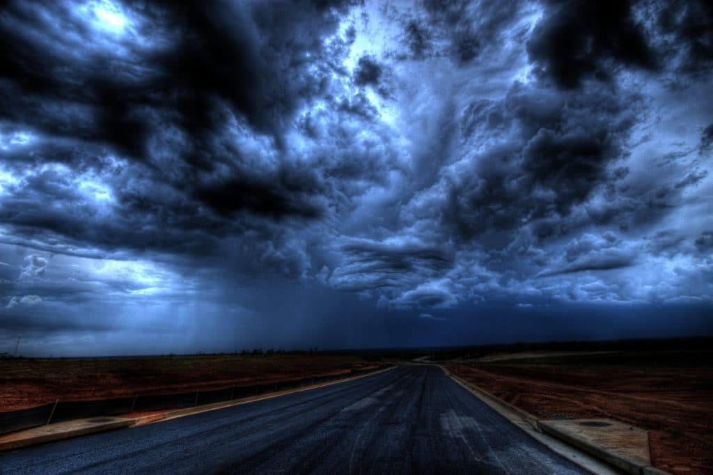 road under cloudy sky