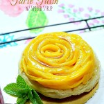 mango tarte tatin with spiced syrup