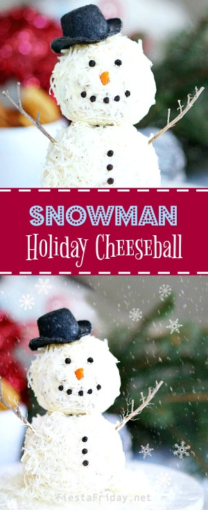 snowman-holiday-cheeseball | fiestafriday.net