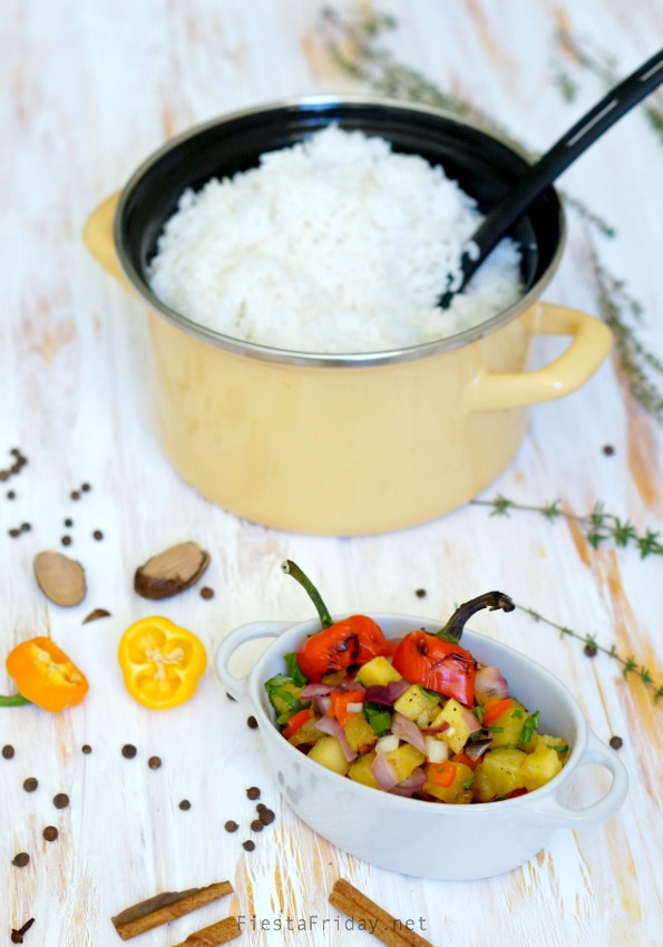 coconut rice and pineapple salsa | fiestafriday.net
