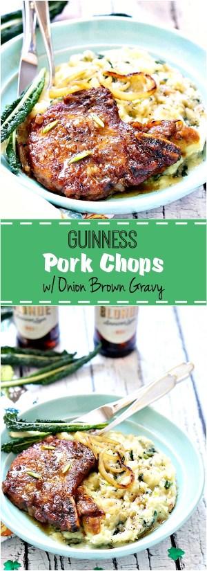Guinness Pork Chops with Onion Brown Gravy | FiestaFriday.net