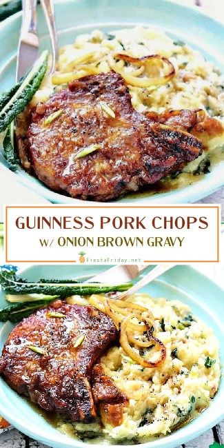 Guinness-flavored Onion Brown Gravy over Pork Chops that will make anyone fall in love with anything Guinness. Perfect for St. Patrick's Day!