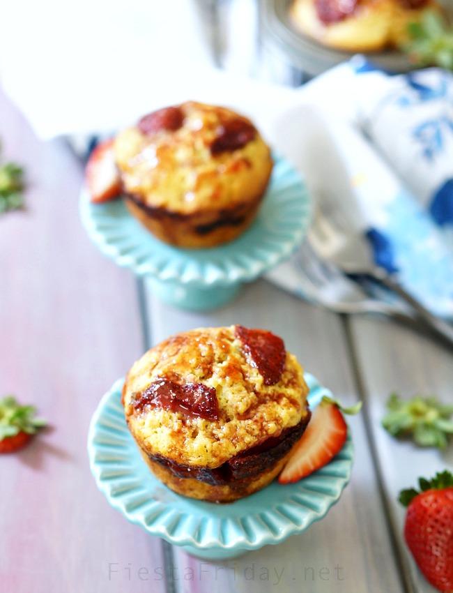roasted strawberry corn muffins